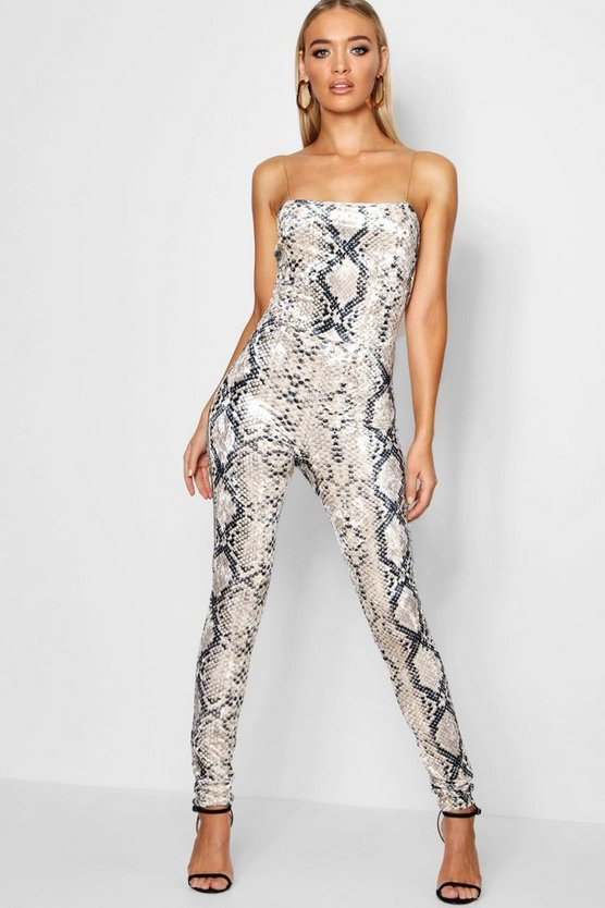 Snake Print Chain Detail Jumpsuit