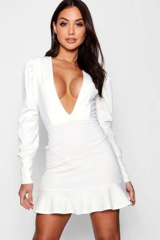 Ava Crepe Frill Hem Plunge Neck Bodycon Dress