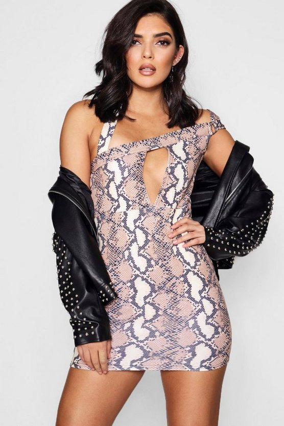 Snake Print Strappy Bodycon Dress