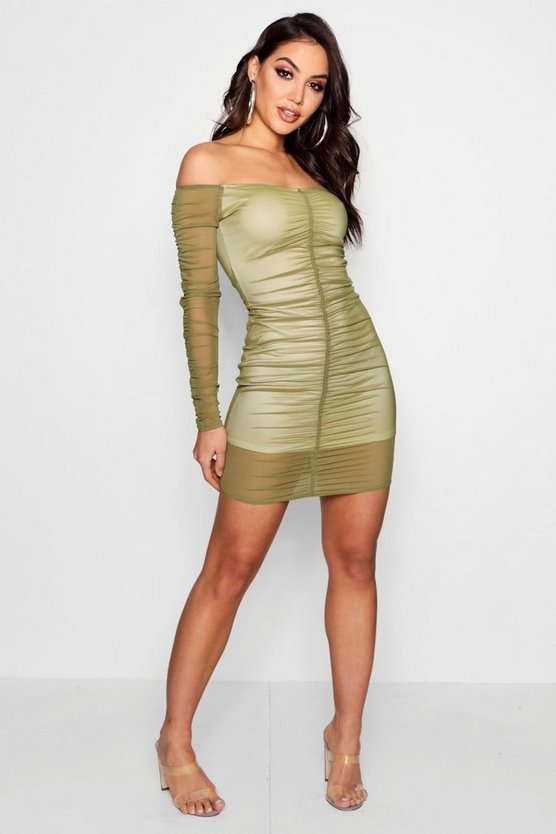 Kat Mesh Ruched Off Shoulder Bodycon Dress