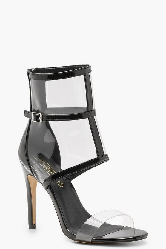 Patent Clear Strap and Cage Sandals