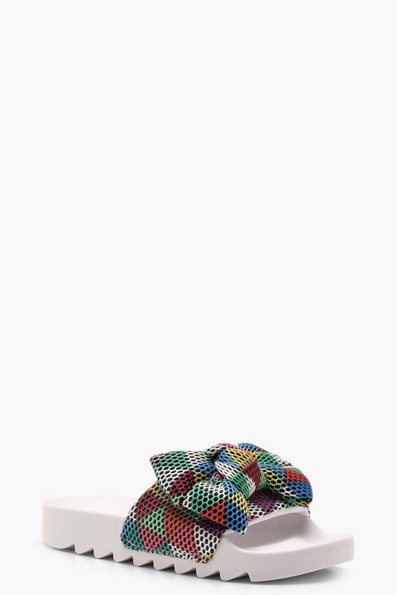Katie Multi Coloured Cleated Bow Sliders