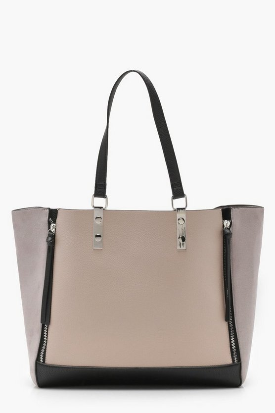 Colour Block Zip Detail Tote by Boohoo