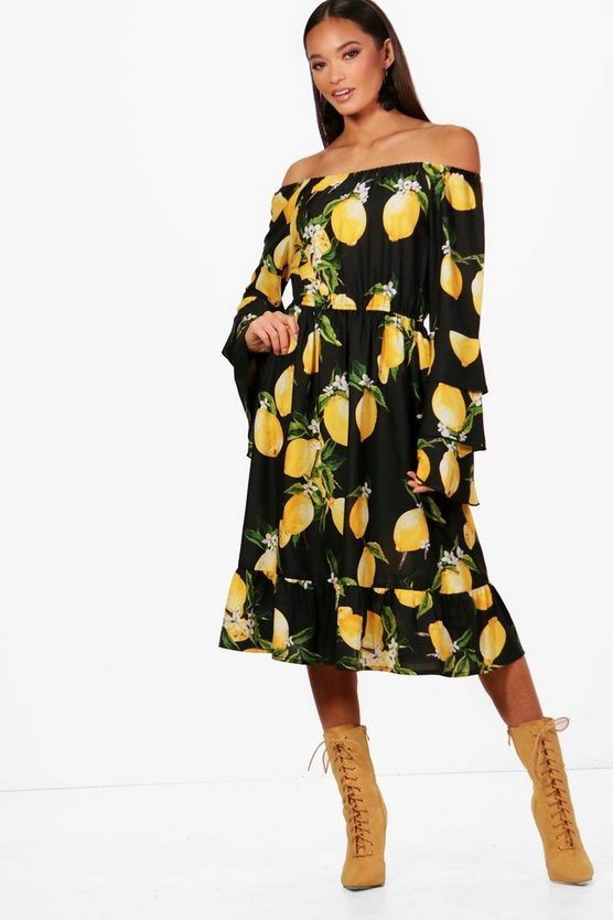 Philly Lemon Off The Shoulder Ruffle Midi Dress