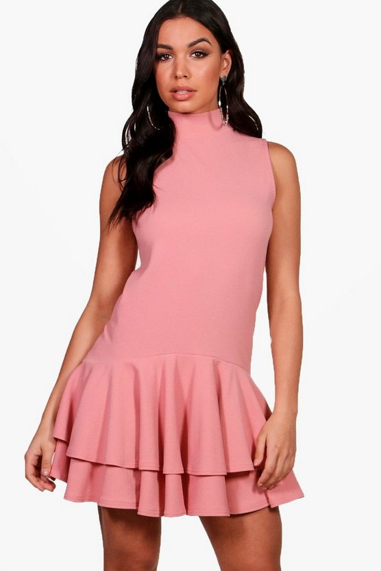 High Neck Sleeveless Drop Hem Shift Dress