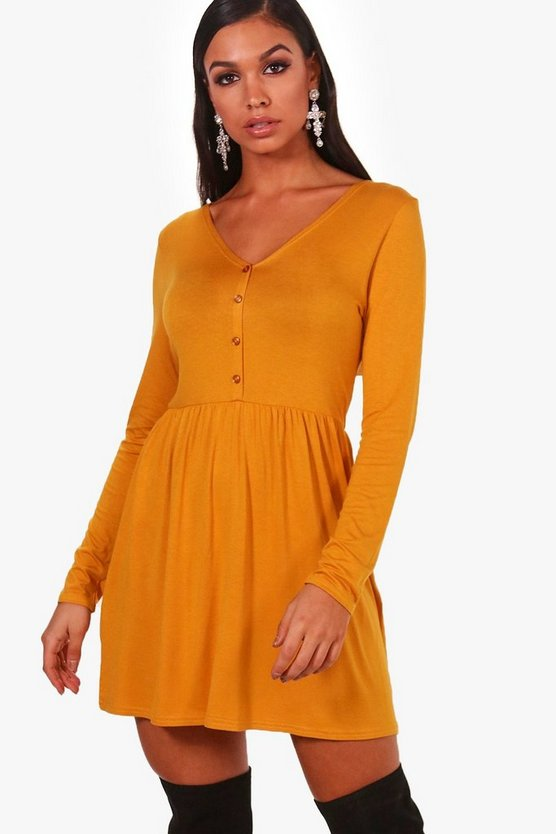 Victoria Button With Neck Smock Dress