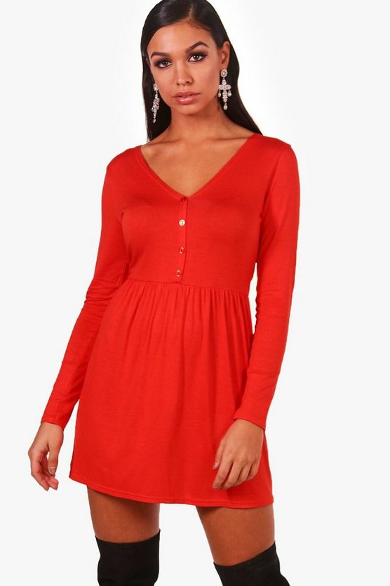 Button With Neck Smock Dress