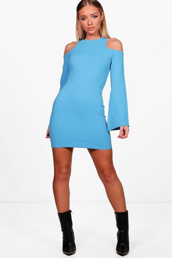 Jenna Cold Shoulder Split Sleeve Bodycon Dress
