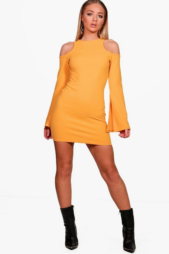 Cold Shoulder Split Sleeve Bodycon Dress