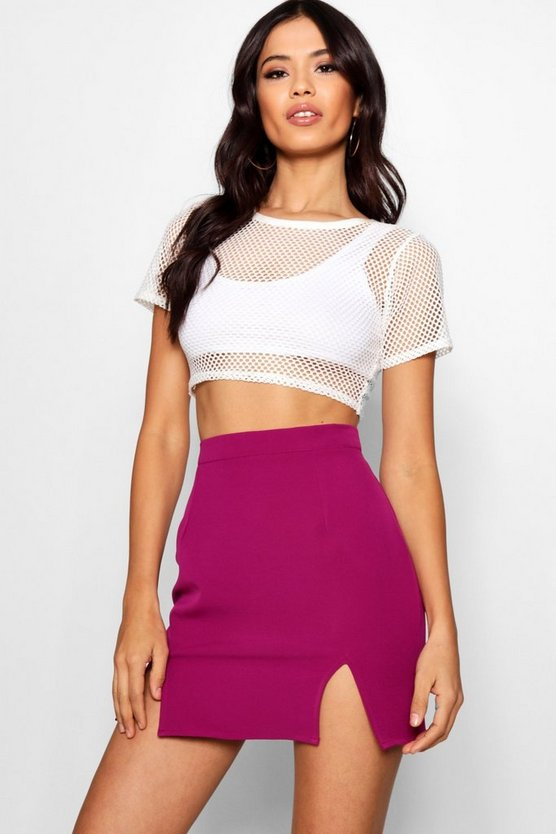 Mollie Woven Spit Front Mini Skirt