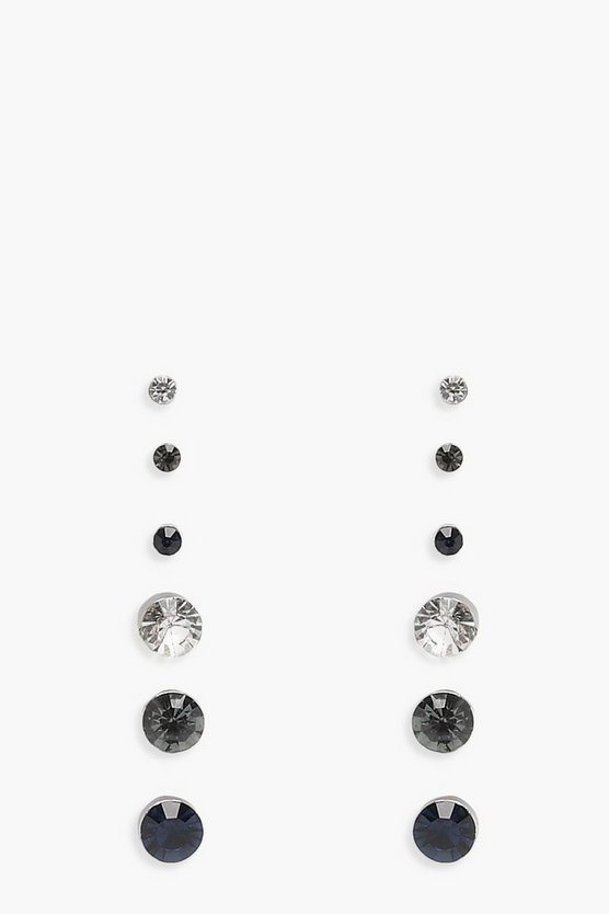 Mixed Size Diamante Stud 6 Pck Earrings
