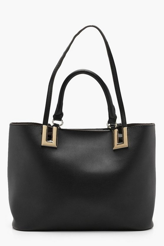 Metal Detail Double Handle Day Bag