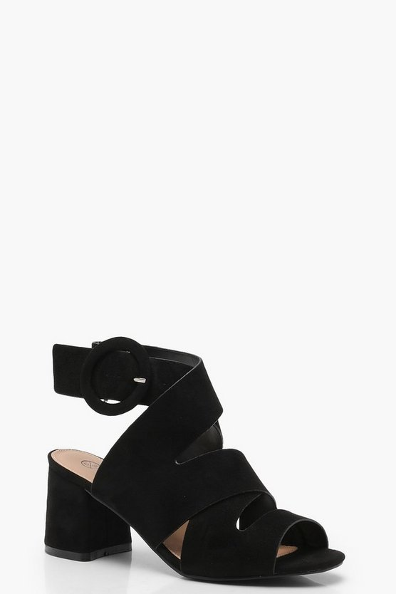 Wide Fit Cross Strap Block Heels