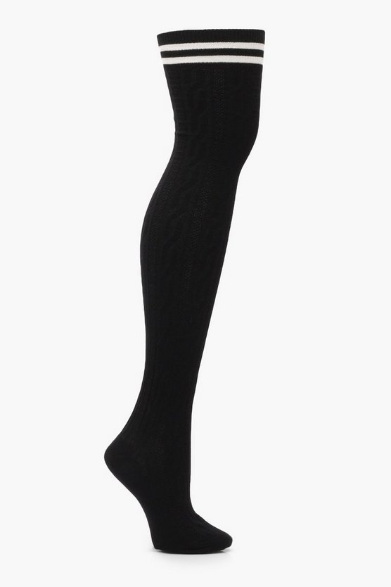 Millie Sports Stripe Cable Knit Knee High Socks