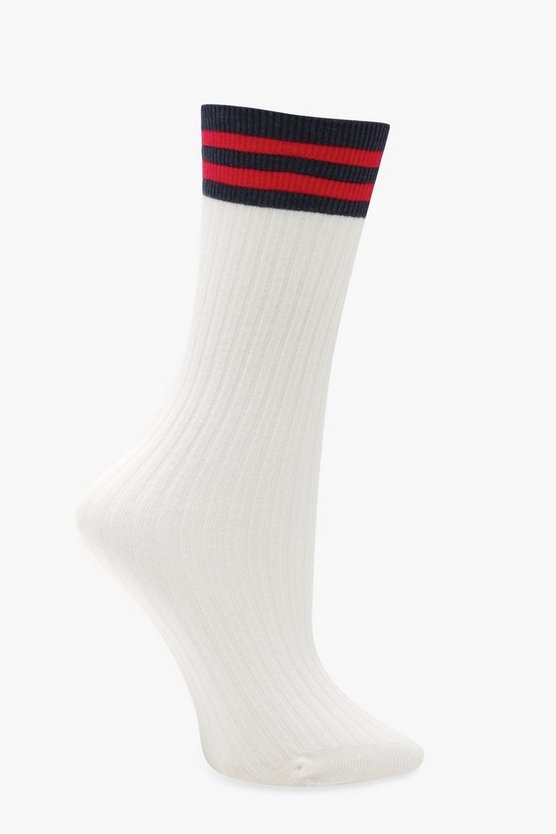 Amy Ribbed Sports Stripe Ankle Socks