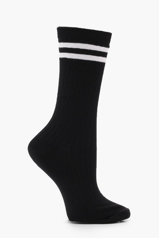 Ivy Ribbed Sports Stripe Ankle Socks
