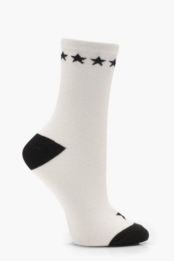 Lily Monochrome Contrast Star Ankle Socks