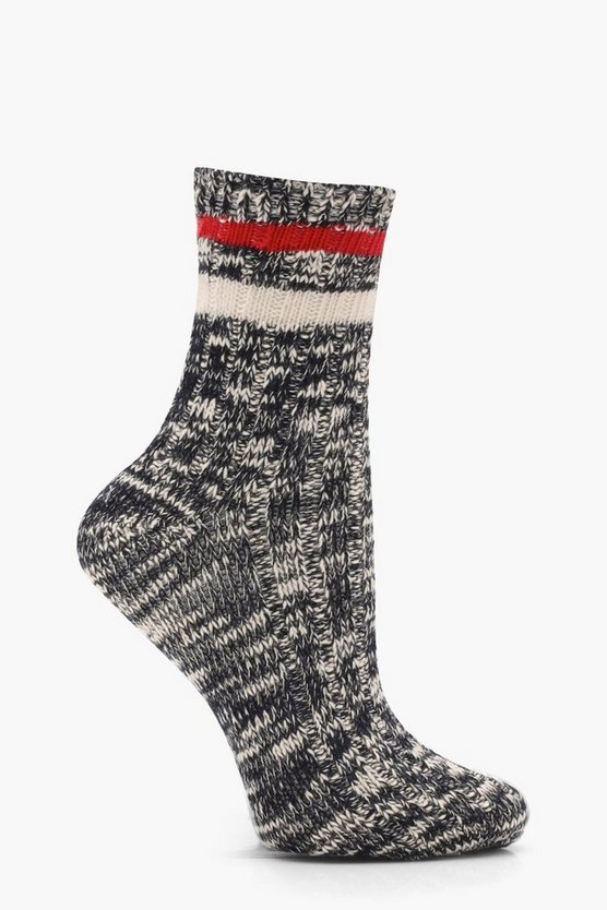 Erin Sports Stripe Ribbed Marl Ankle Socks