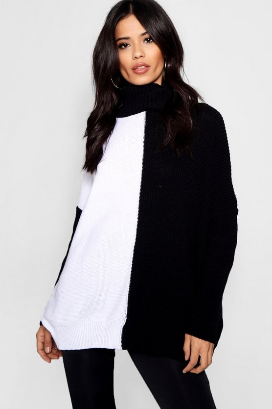 Mable Monochrome Colour Block Roll Neck Jumper
