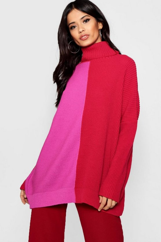 Monochrome Colour Block Roll Neck Jumper