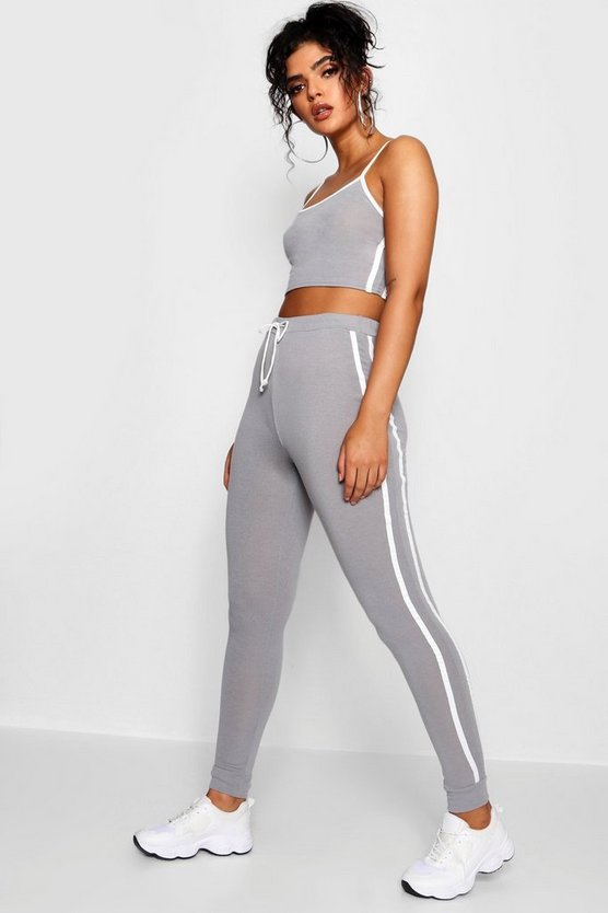 Nicole Sports Stripe Crop Knitted Lounge Set