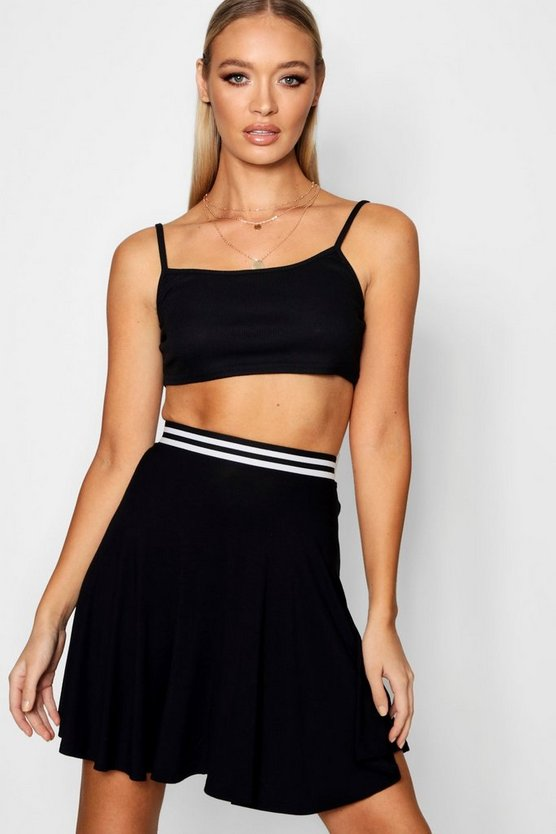 Sports Waistband Skater Mini Skirt