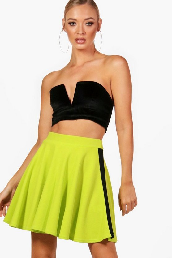 Contrast Side Bright Skater Mini Skirt