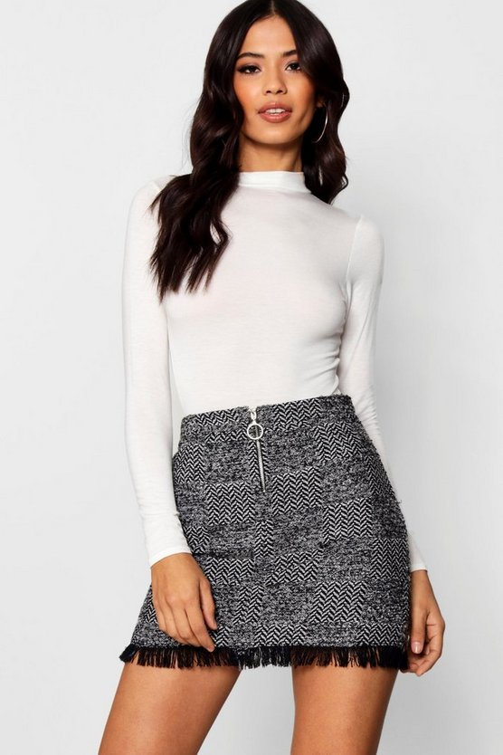 Freyed Hem Woven Check Mini Skirt