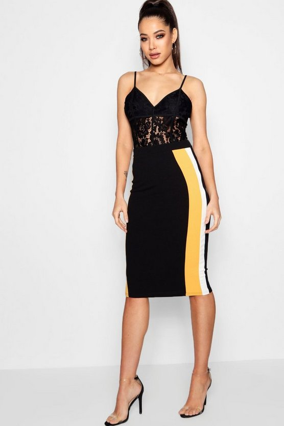 Niamh Contrast Side Panel Crepe Midi Skirt