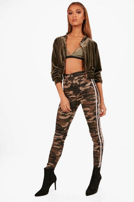 Bailey Camo Stripe Rip Knee Skinny Tube Jeans