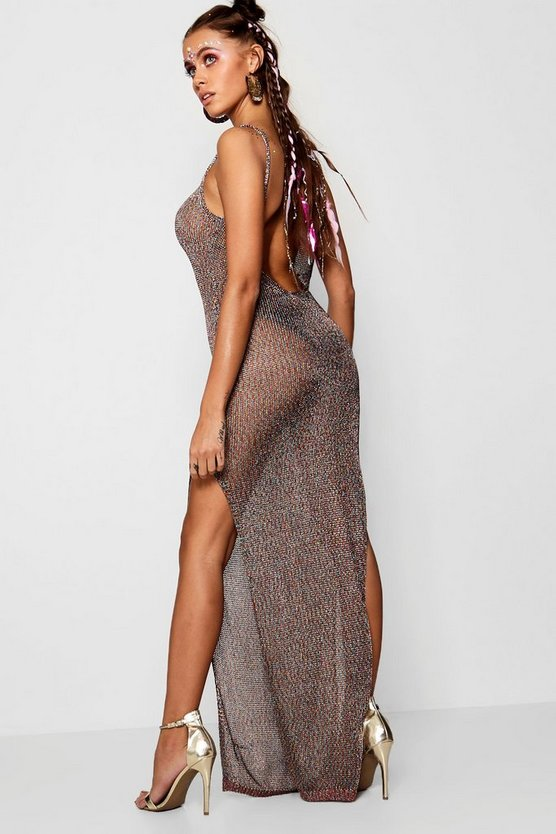 Rainbow Knitted Metallic Scoop Back Maxi