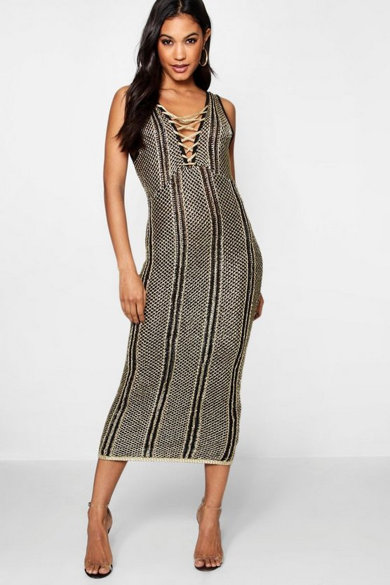 Lace Up Metallic Knitted Midi Dress