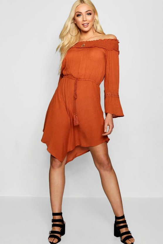 Milly Off The Shoulder Dipped Hem Shift Dress