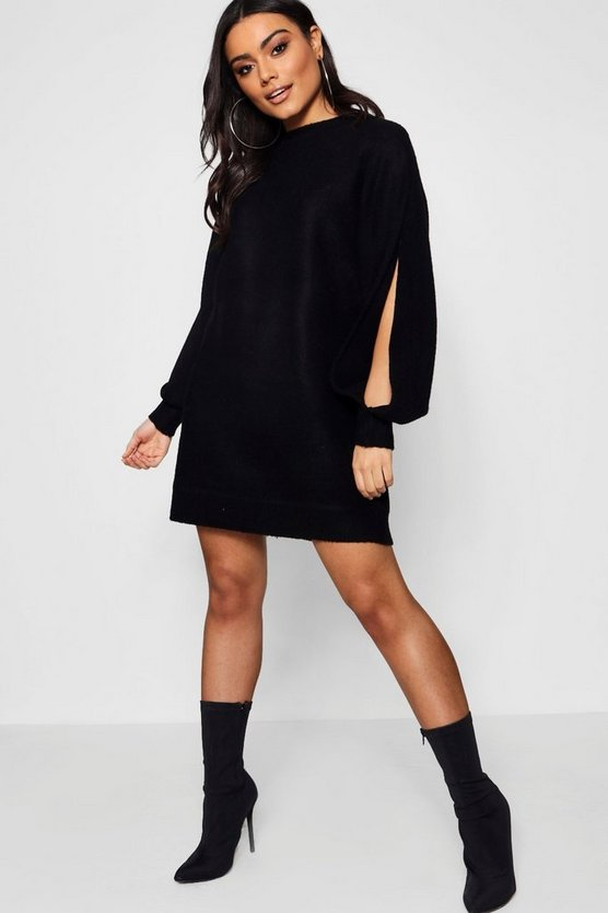 Oversized Batwing Split Sleeve Jumper