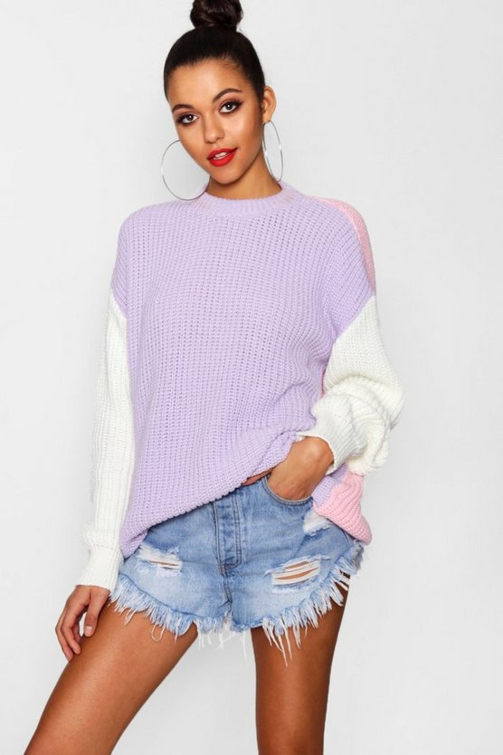 Neena Oversized Colour Block Knitted Jumper