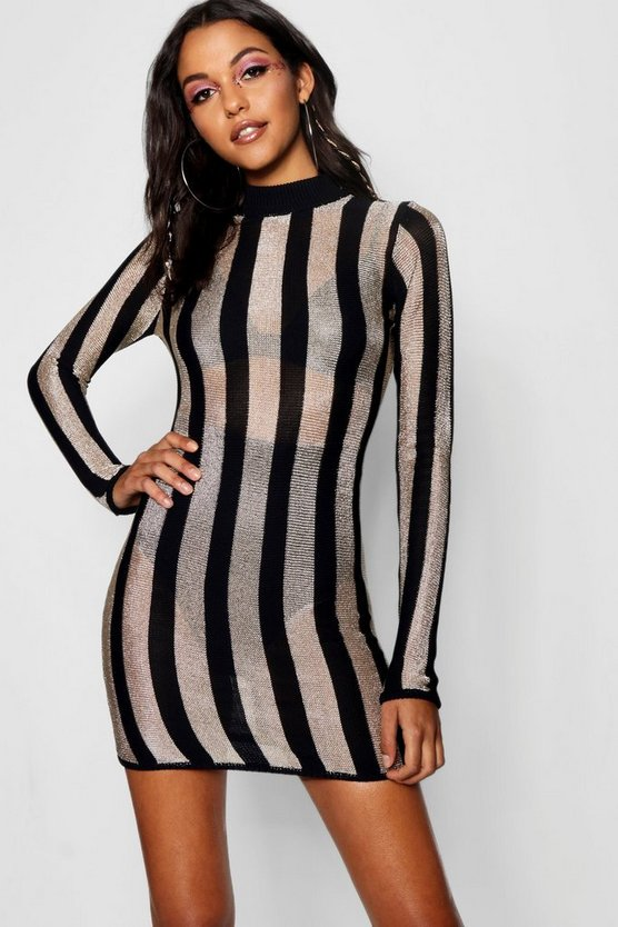 Stripe Metallic Knitted Bodycon Dress