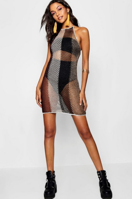 Olivia Stripe Metallic Knitted Halterneck Dress