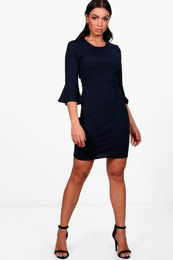 Jordanne Gathered Neck Midi Dress