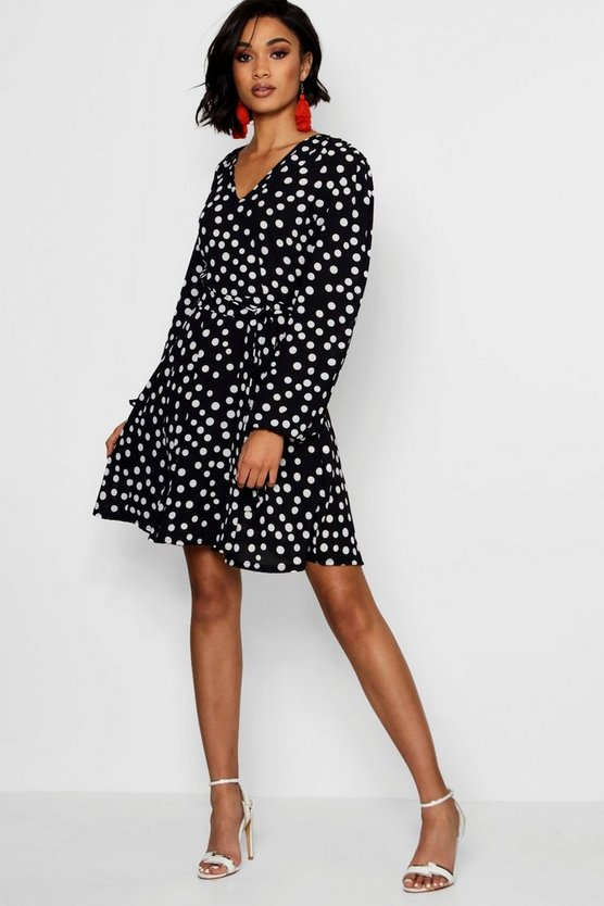 Lowis Polka Dot Belted Skater Dress