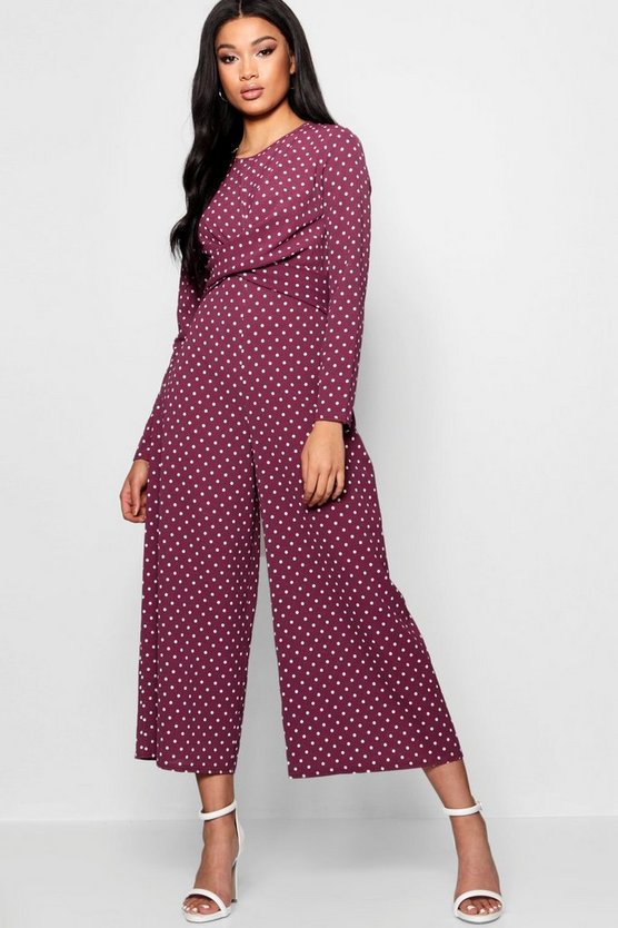 Trisha Polka Dot Wrap Over Jumpsuit