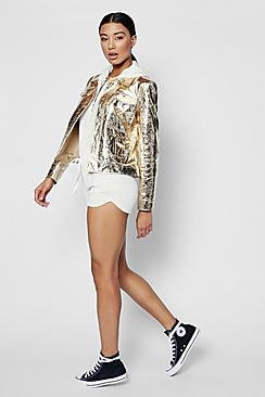 Zendaya Edit Metallic Trucker Jacket