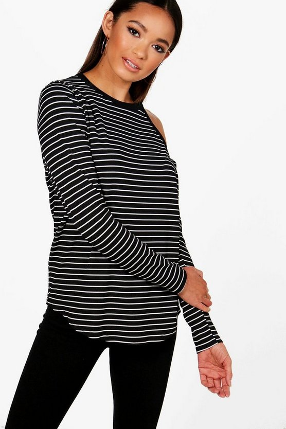 Sally Stripe Cold Shoulder T-Shirt
