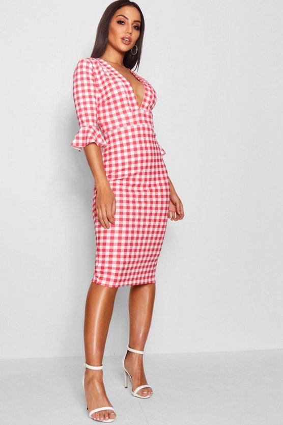 Rosie Plunge Neck Gingham Midi Dress