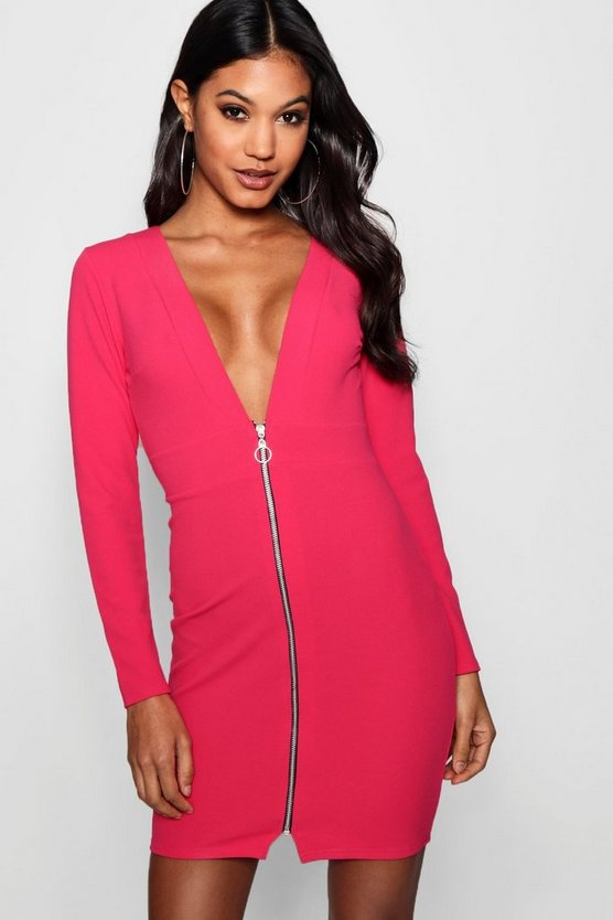 Nia Plunge Front O Ring Zip Bodycon Dress