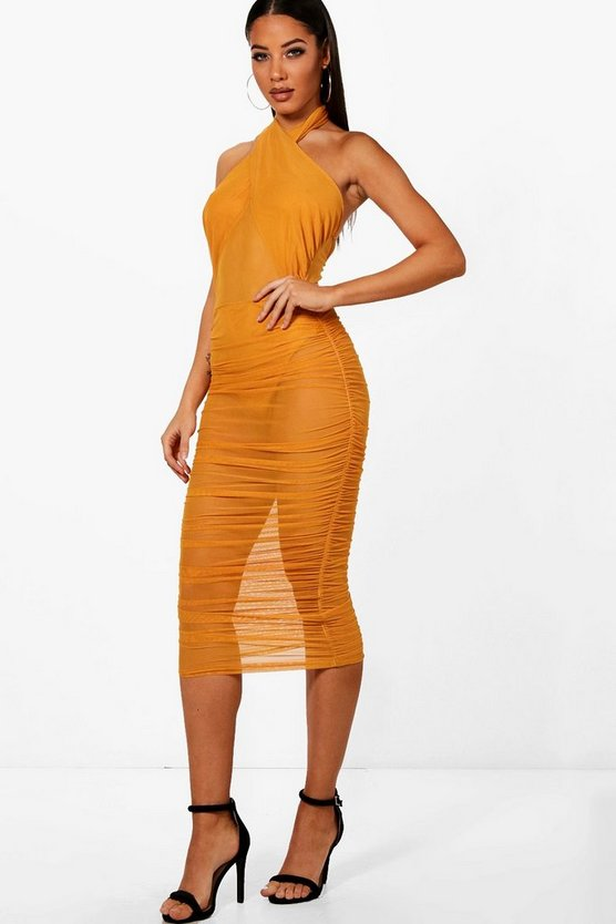 Lillie Cross Neck Mesh Ruched Midi Dress