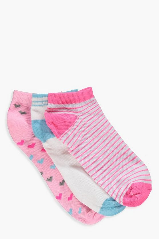 Erin 3 Pack Heart And Stripe Trainer Socks