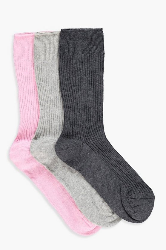 Ava 3 Pack Ribbed Top Ankle Socks