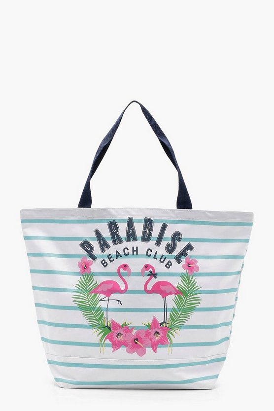 Rosie Summer Slogan Stripe Beach Bag