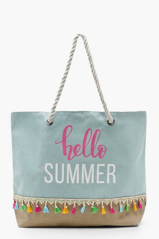 Ava Canvas And Straw Tassel Slogan Beach Bag