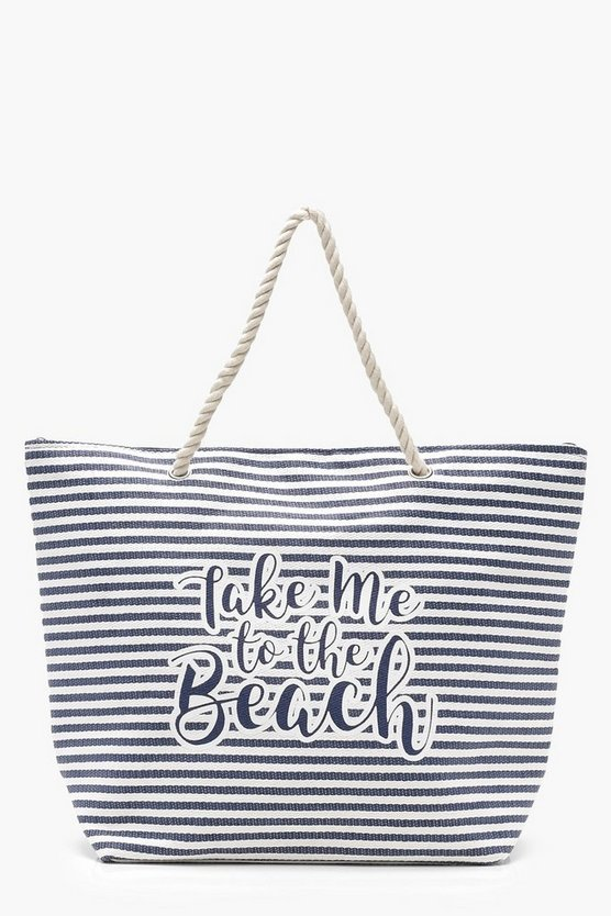 Slogan And Stripe Straw Beach Bag